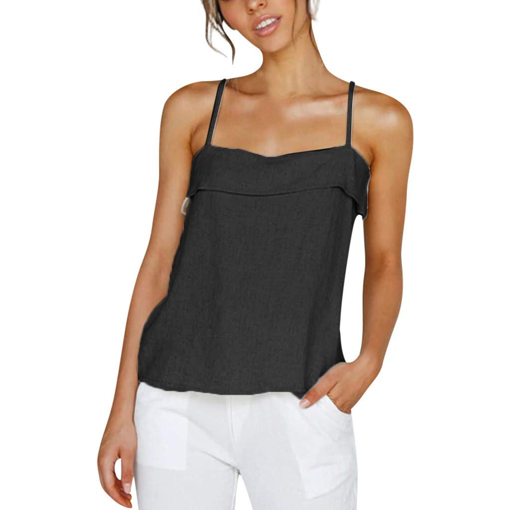 Swing Tank Tops for Women - ✔ Hypothesis_X ☎ Women Cute Short Sleeve Casual Blouse Tunic Ruffled Top Vest Black