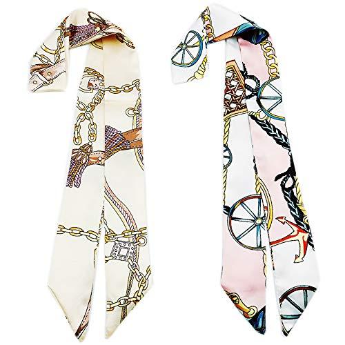 Skinny Neckerchief Scarf for Handbag Handle Silk Scarf Bracelet for Women by Bellagione (Jasmine)