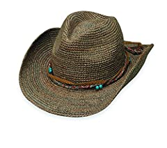The Catalina is perfect to transform your style to an artistic urban cowboy, whether you are in the city or the country. Made of 100% Madagascan raffia dressed up with a mix of suede and bead accents on raffia trim, making a statement to stan...
