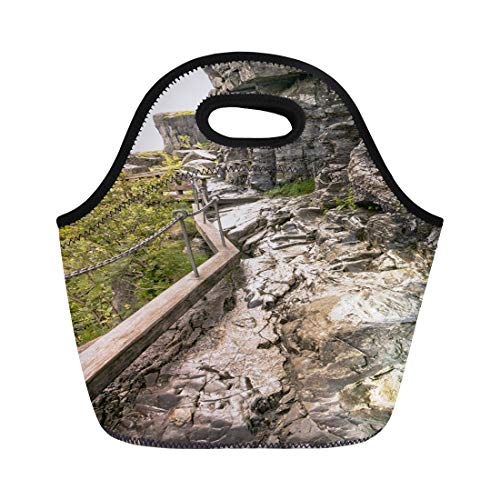 (Semtomn Lunch Bags Preikestolen Norway Lysefjord Light Fjord Lightly Coloured Granite Rocks Neoprene Lunch Bag Lunchbox Tote Bag Portable Picnic Bag Cooler Bag)