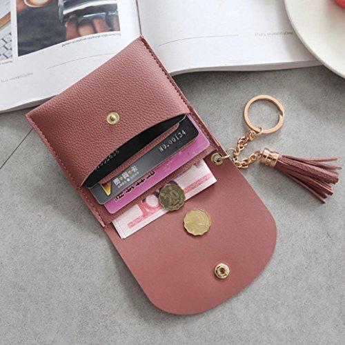 LHWY Mujer Sencillo Borla SóLido Billetera Corta Monedero Portatarjetas Bolso De Mano Monedero De Bolsillo Rojo