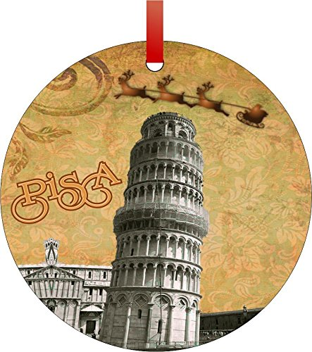 Metal Tuscany Mirror - Vintage Santa and Sleigh Riding Over Leaning Tower of Pisa-Tuscany-Central Italy-Double-Sided Round Shaped Flat Aluminum Christmas Holiday Hanging Tree Ornament. Made in the USA!