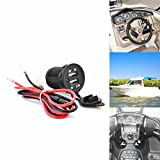 Qiorange 12V 1A 2.1A Waterproof Dual 2 USB Port Power Socket Mobile GPS Charger Car Boat Marine Carvans Flush Mount (Dual USB 1A 2.1A with cable)