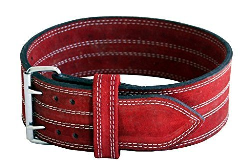 Ader Leather Power Lifting Weight Belt- 4'' Red (Medium)