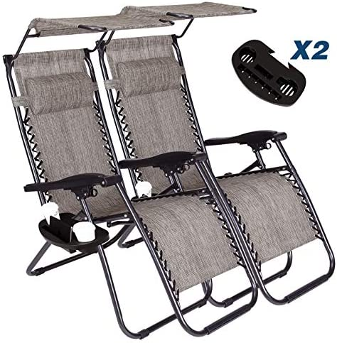 Vosson Lounge Zero Gravity Chair 2 Pack Zero Gravity Lounge Chair for Patio Beach Outdoor Camping Pool Yard with Pillow Canopy Shade Cup Holder Tray Grey
