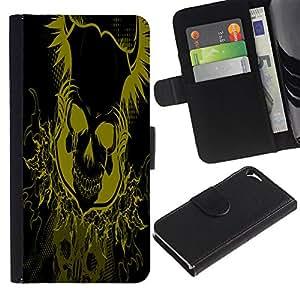 A-type (Amarillo Floral Skull Skeleton) Colorida Impresión Funda Cuero Monedero Caja Bolsa Cubierta Caja Piel Card Slots Para Apple iPhone 5 / iPhone 5S