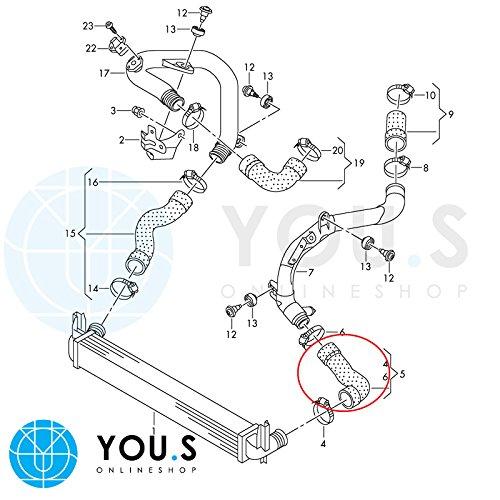 you.s ORIGINALE 6r0145832 Tubo di aspirazione diametro interno circa 56//56 mm