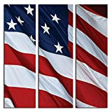 JP London 3 Panels At 16in by 48in Triptych 3 Huge Gallery Wrap Canvas Wall Art God Bless America USA Flag At Overall 4 4 Feet LTCNV2159, Extra Large