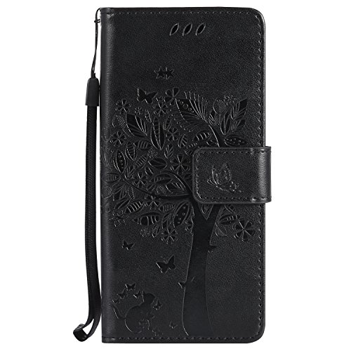 Black Open House Card - NOMO Galaxy S8 Plus Case,Samsung S8 Plus Wallet Case,Galaxy S8 Plus Flip Case PU Leather Emboss Tree Cat Flowers Folio Magnetic Kickstand Cover with Card Slots for Samsung Galaxy S8 Plus Black