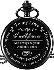 """Pangda Pocket Watch to Husband Wife Boyfriend Girlfriend Gift, Engraved""""to My Love"""" Pocket Watch - No Matter Where We are, No Matter What Happens, Love Forever (Love Gifts, White Dial)"""