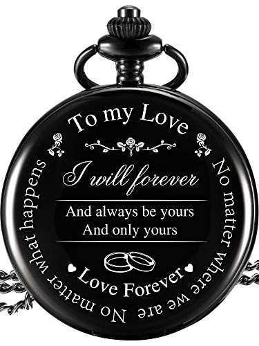 "Pangda Pocket Watch to Husband Wife Boyfriend Girlfriend Gift, Engraved""to My Love"" Pocket Watch - No Matter Where We are, No Matter What Happens, Love Forever (Love Gifts, White Dial)"