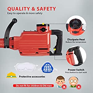VIVOHOME 2200W 400 RPM Electric Demolition Jack Hammer Heavy Duty Concrete Breaker Drills Kit with Carrying Case Gloves Goggle and Removal tools