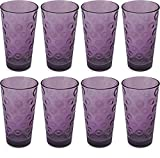 Cheap Circleware 44804 Plum Drinking Glasses, Huge Set of 8, Heavy Base Highball Tumbler Beverage Ice Tea Cups, Home & Kitchen Entertainment Glassware for Water, Juice, Milk, Beer, Bar Decor, 17 oz, Circles