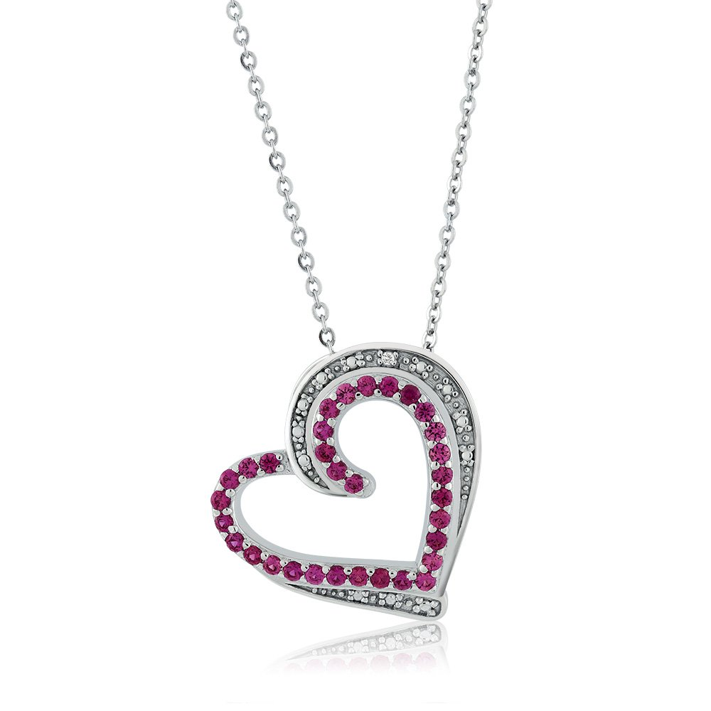 Gem Stone King 925 Sterling Silver Created Ruby /& Accent Diamond Heart Shape Pendant Necklace with 18 Inch Silver Chain