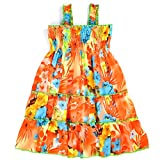 LELEFORKIDS - Under The Sun Toddler & Girls Floral Printed Chiffon Shoulder Strap Ruffled Midi-Dress - Tropical Touch - 5