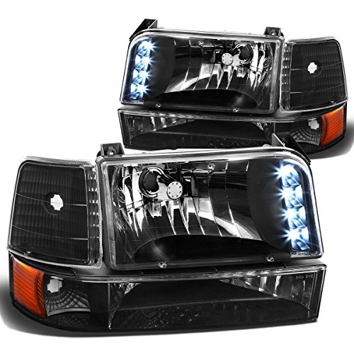 Bronco 96 Ford Assembly Grille (DNA Motoring HL-OH-F15092-6P-LED-BK-AM Headlight Assembly, Driver & Passenger Side)