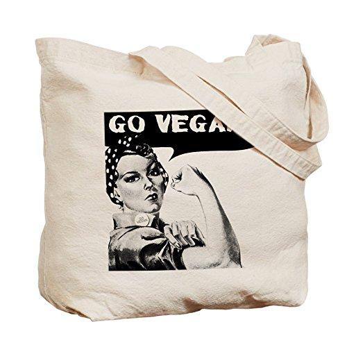 CafePress–Go Vegan–Leinwand Natur Tasche, Reinigungstuch Einkaufstasche, canvas, khaki, S
