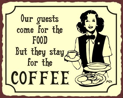 Guests Stay For Coffee Vintage Metal Art Coffee Shop Diner Retro Tin Sign