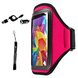 Waterproof Armband [Key Slot] [ Strap] Workout Sport Armlet Armbelt High Visibility Window Magenta with Hand Strap + mini USB Car Charger with Micro USB for ZTE Blade A520/V8 Lite/V8 Mini