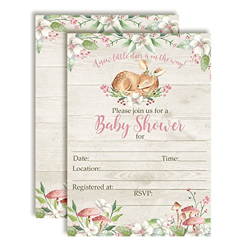 Little Deer Woodland Watercolor Floral Baby Shower Invitations for Girls, 20 5