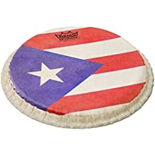"""Remo 7.15"""" Skyndeep Bongo Head (Tucked Collar) with Puerto Rican Flag Graphic"""