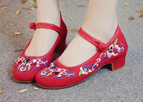 Avacostume Kvinna Kinesisk Broderi Chunky Klack Pumpar Röd