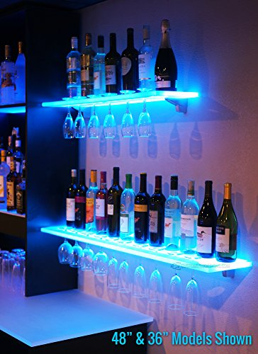 6' LED Lighted Floating Bar Shelving with Integrated Wine Glass - Bar Home Furniture