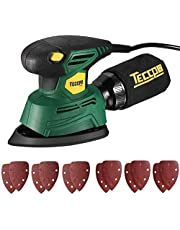 """Mouse Detail Sander, TECCPO Electric Sander Small 1/4"""" 1.1 Amp/14,000 OPM Corded Sander with12Pcs Sanding Paper, Dust Collection Bag 