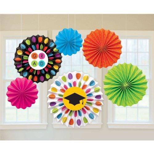 Colorful Commencement Paper Fans