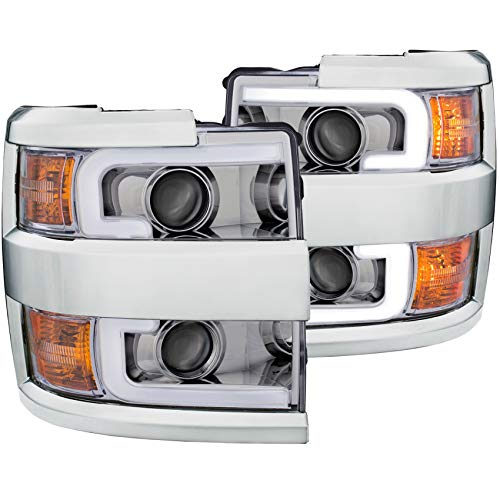 Anzo USA 111360 CHEVY SILVERADO 2500HD,3500HD 15-19 PROJECTOR PLANK STYLE H.L. CHROME CLEAR AMBER