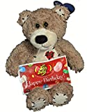 Budget Birthday Gift Set For Kids - 2 Piece Plush Teddy Bear and Jelly Belly Happy Birthday Assortment - Birthday Gift Basket - Birthday Gifts For Him / Her