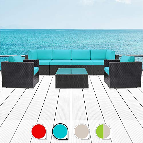 Walsunny 7pcs Patio Outdoor Furniture Sets,All-Weather Rattan Sectional Sofa with Tea Table&Washable Couch Cushions (Black Rattan (Blue Armrest Version