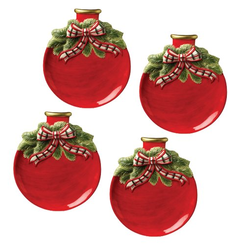 Red Ornament Plates Set of 4