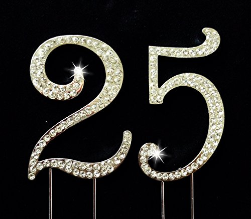 25th Birthday / Wedding Anniversary Number Cake Topper with Sparkling Rhinestone Crystals - 2.75 - Rhinestone Cake Topper Number 25