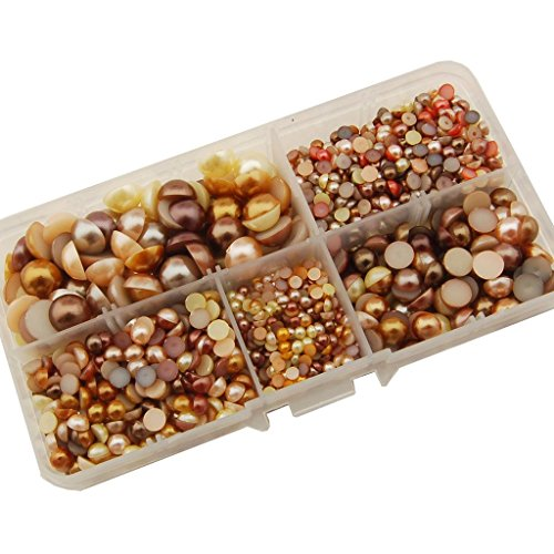 Summer-Ray 3mm to 10mm Yellow & Brown Flat Back Pearl Collection In Storage Box Set - Ray Brown Summer