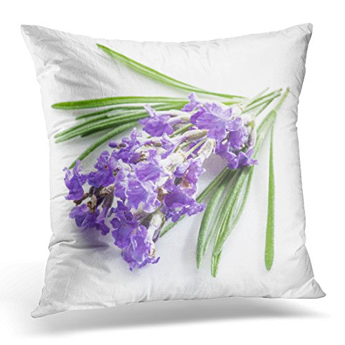 Emvency Throw Pillow Cover Yellow Alternative Bunch of Lavandula Lavender Flowers White Anti Decorative Pillow Case Home Decor Square 18