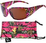 Hornz Hot Pink-Purple Camouflage Polarized Sunglasses Country Girl Style Rhinestone Accents & Free Matching Microfiber Pouch – Hot Pink-Purple Camo Frame – Amber Lens