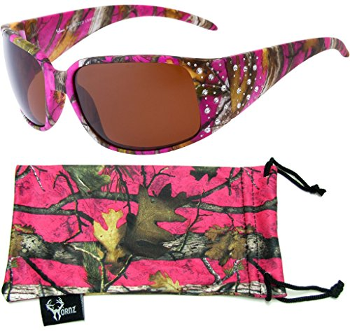 Hornz Hot Pink-Purple Camouflage Polarized Sunglasses Country Girl Style Rhinestone Accents & Free Matching Microfiber Pouch – Hot Pink-Purple Camo Frame – Amber - Sunglasses Polarized Benefit