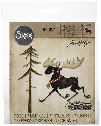 Sizzix 663103 Thinlits Dies Merry Moose by Tim Holtz, 7-Pack, Multicolor by Sizzix (Image #1)