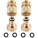HQMPC Garden Hose Quick Connect 3/4 inch GHT Brass Quick Connector Garden Hose Fitting Water Hose Connectors (2SETS)