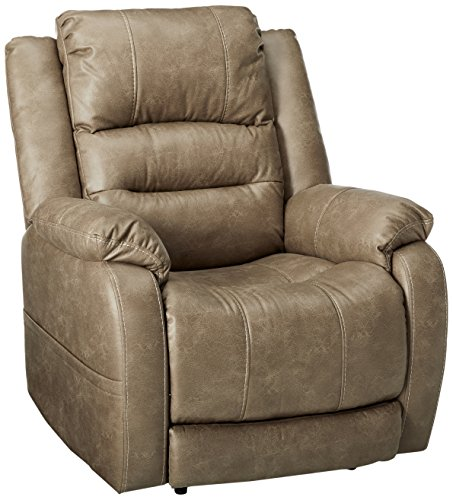 Ashley Furniture Signature Design – Barling Luxury Faux Leather Power Recliner w/Adjustable Headrest – Contemporary – Mushroom For Sale
