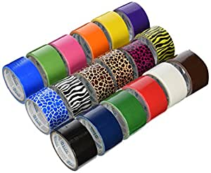 18 Roll Variety Pack of Bazic Print and Solid Colors (brights and regular colors) of All Purpose Duct Tape