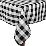 Ultimate Textile (3 Pack) 60 x 144-Inch Rectangular Polyester Gingham Checkered Tablecloth - for Picnic, Outdoor or Indoor Party use, Black and White
