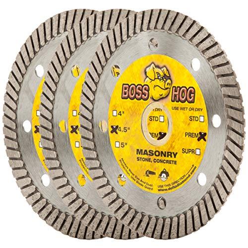 (3 Pack) Boss Hog 4 1/2-Inch Turbo Masonry Diamond Blade, 7/8-5/8