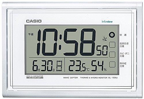 CASIO 카시오 온도・습도계 밤에도 잘보이는  라이트 부착 생활환경 통지 전파 디지탈 벽시계 펄 화이트 IDL-150NJ-7JF