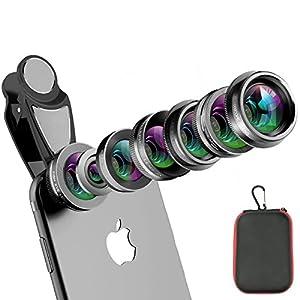 Phone Camera Lens Kit, 8 in 1 Zoom Universal Telephoto Lens+198° Fisheye lens + 0.36 Super Wide Angle Lens + 0.63X Wide Lens + 15X Macro Lens + CPL Polarizer + Kaleidoscope Lens + Clamp