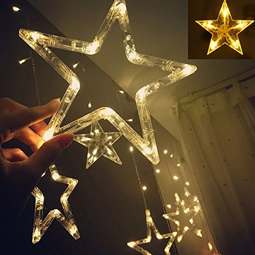 Twinkle Star 12 Stars 138 LED Curtain String Lights, Window Curtain Lights with 8 Flashing Modes Decoration for Christmas, Wedding, Party, Home, Patio Lawn, Warm White (138 LED - Star)