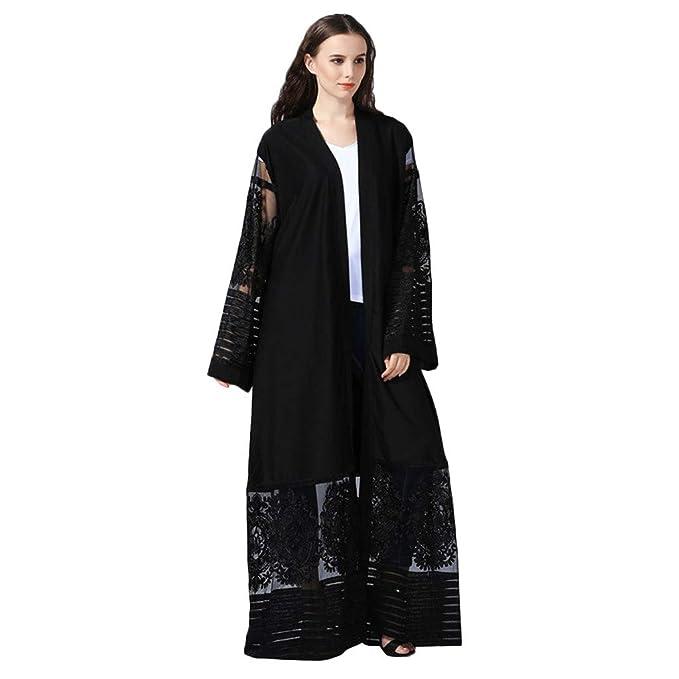 Mujeres Étnicas Batas Abaya Islámico Musulmán Medio Oriente Elegante Impresión Hueca Maxi Vestido Vendaje Kaftan: Amazon.es: Ropa y accesorios