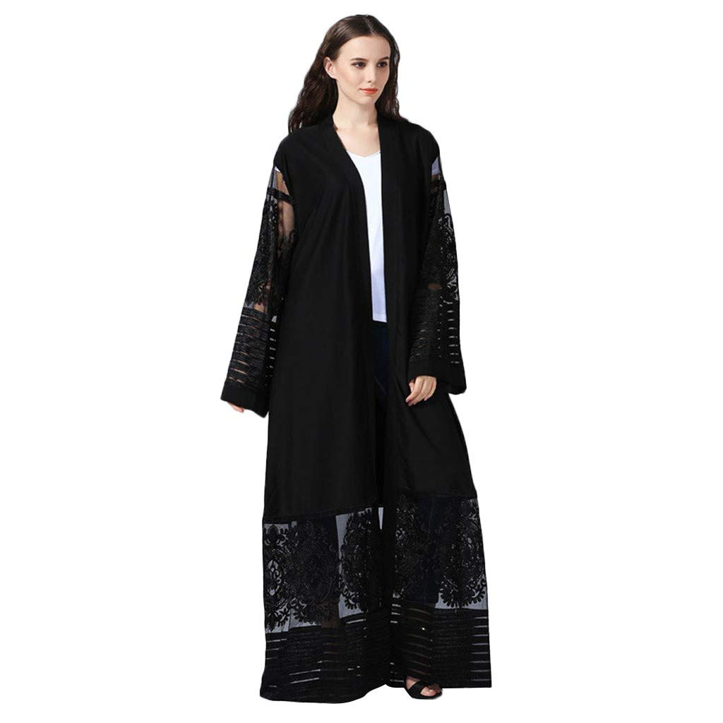 Women Ethnic Style Open Cardigan Long Robe Casual Loose Fit Flare Sleeve Lace Embroidery Pure Color Elegant Flowy Abaya Kaftan (M, Black)