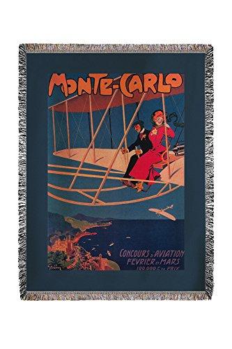 - Lantern Press Monte Carlo, Monaco - Aviation Sporting Poster - Vintage Advertisement 8497 (60x80 Woven Chenille Yarn Blanket)